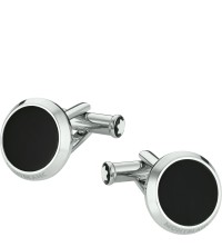 Montblanc Cuff Links Round Stainless Steel Onyx