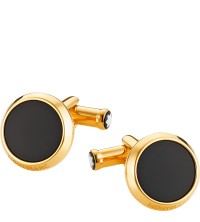 Montblanc Cuff Links Round Gold Plated Onyx